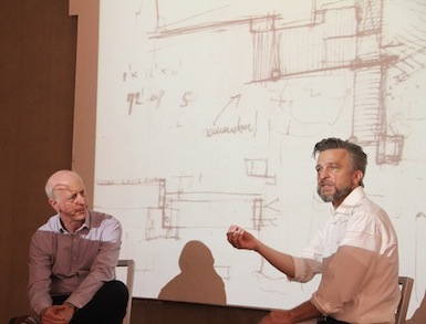 Photo of Paul Goldberger (L) in conversation with Robert Kirkbride (R).