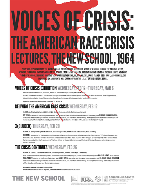 Poster for Voices in Crisis exhibition.